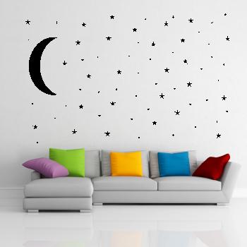 Samolepka na zeď - Hvězdy s měsícem