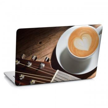 Samolepka na notebook - Káva s kytarou