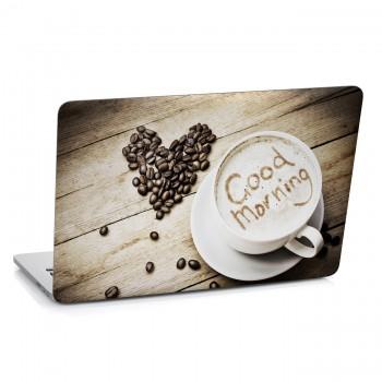 Samolepka na notebook - Káva - Dobré ráno