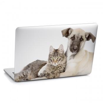Samolepka na notebook - Pes s kočkou
