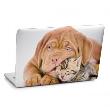 Samolepka na notebook - Štěně a kotě