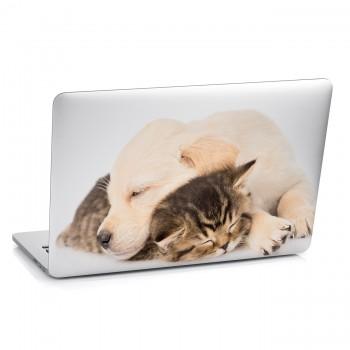 Samolepka na notebook - Spící štěně a kotě