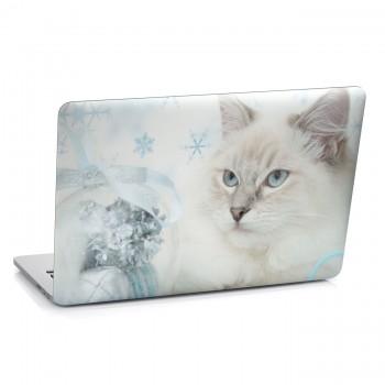Samolepka na notebook - Bílá kočka