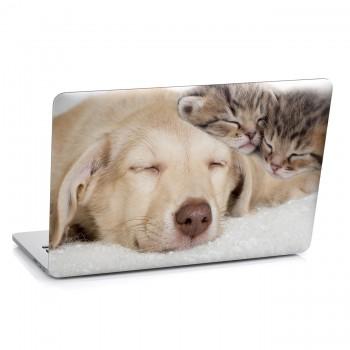 Samolepka na notebook - Pes a koťátka