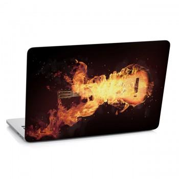 Samolepka na notebook - Ohnivá kytara