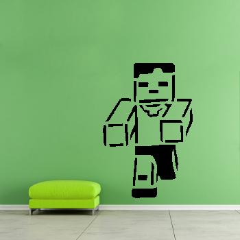 Samolepka na zeď - Minecraft běžící postavička
