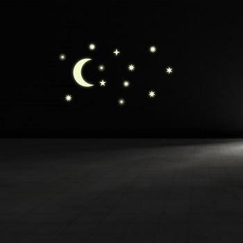 Svíticí samolepka na zeď - Měsíc a hvězdy art