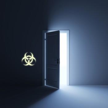 Svíticí samolepka na zeď - Biohazard