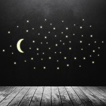 Svíticí samolepka na zeď - Hvězdy s měsícem