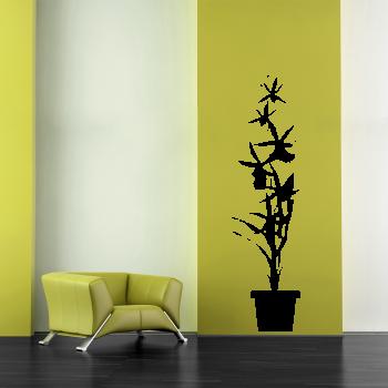 Samolepka na zeď - Kytka v květináči
