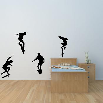 Samolepka na zeď - Skateboardista SET