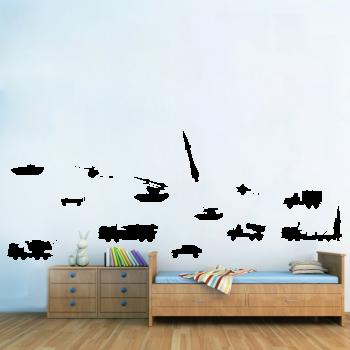 Samolepka na zeď - Vojenská technika set