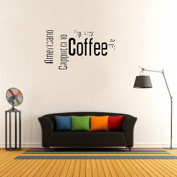 Samolepka na zeď - Coffee nápis