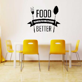 Samolepka na zeď - Better food nápis