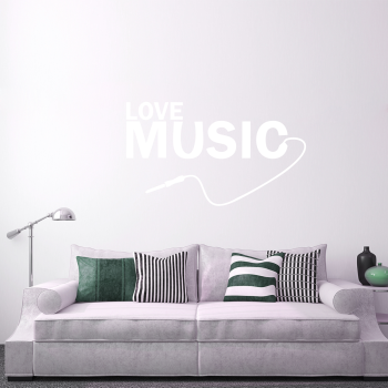 Samolepka na zeď - Love music nápis