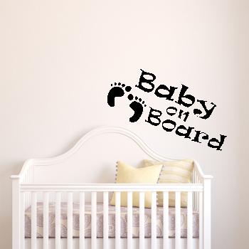Samolepka na zeď - Baby on board nápis