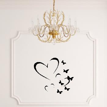 Samolepka na zeď - Motýlci a srdíčka