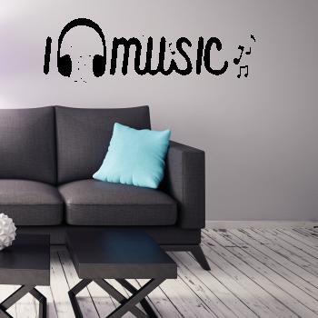 Samolepka na zeď - I love music