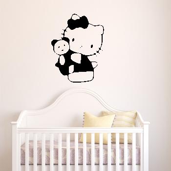 Samolepka na zeď - Hello Kitty s medvídkem