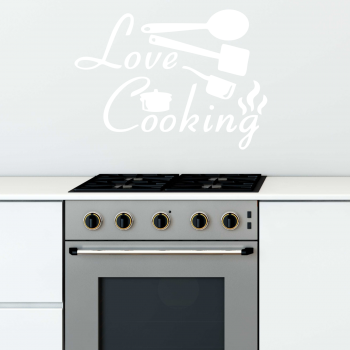 Samolepka na zeď - Love cooking nápis