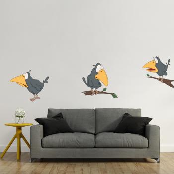 Barevná samolepka na zeď - Ptáčci set