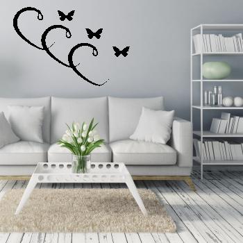 Samolepka na zeď - Srdíčka s motýlky