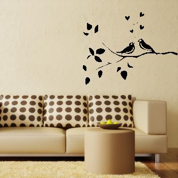Samolepka na zeď - Zpívající ptáčci