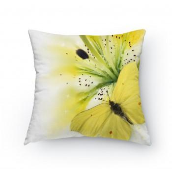 Polštářek - Žlutý motýl na květu