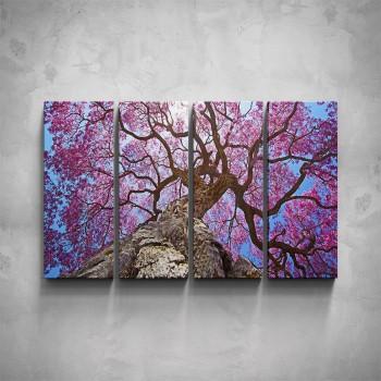 4-dílný obraz - Růžová koruna stromu