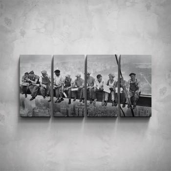 4-dílný obraz - Dělníci na traverze