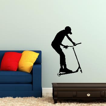 Samolepka na zeď - Koloběžka protočení řidítek