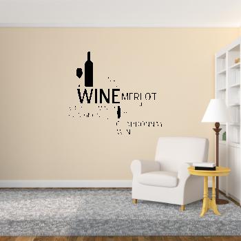 Samolepka na zeď - Vína nápisy