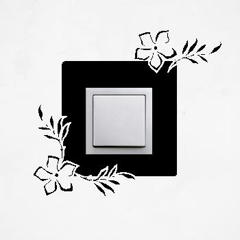Samolepka na vypínač - Květy s lístky