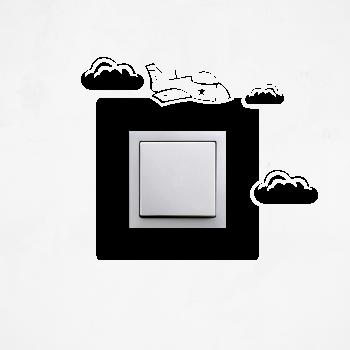 Samolepka na vypínač - Letadlo s mráčky