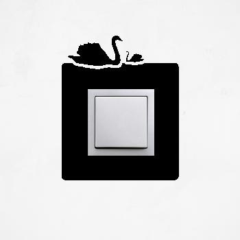 Samolepka na vypínač - Labutě