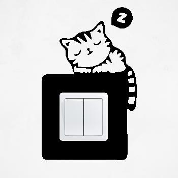 Samolepka na vypínač - Spící kočka