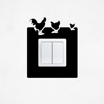 Samolepka na vypínač - Kohout a slepičky