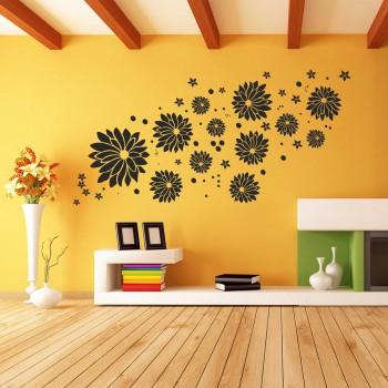 Samolepka na zeď - Květy velký set