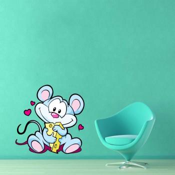 Barevná samolepka na zeď - Myška se sýrem