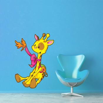 Barevná samolepka na zeď - Žirafa s ptáčkem
