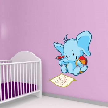 Barevná samolepka na zeď - Kreslící slon