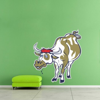 Barevná samolepka na zeď - Kráva