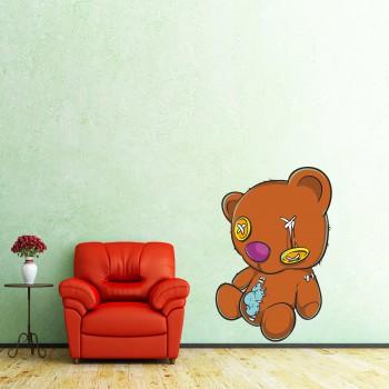 Barevná samolepka na zeď - Starý plyšový medvídek
