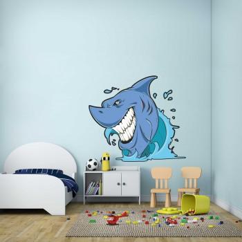 Barevná samolepka na zeď - Žralok