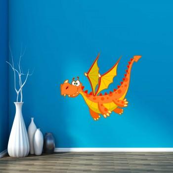 Barevná samolepka na zeď - Oranžový dráček