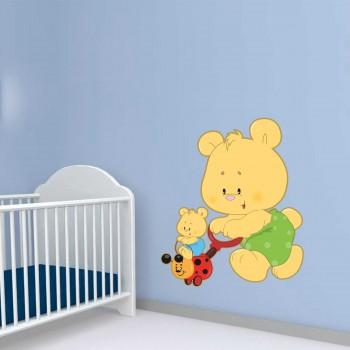 Barevná samolepka na zeď - Medvídek s mláďětem