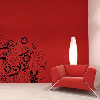Samolepka na zeď -Ornament květy
