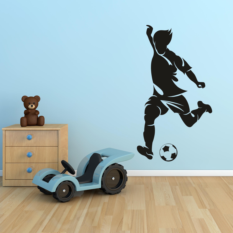 Samolepka na zeď - Kopající fotbalista - 52x95 cm - PopyDesign