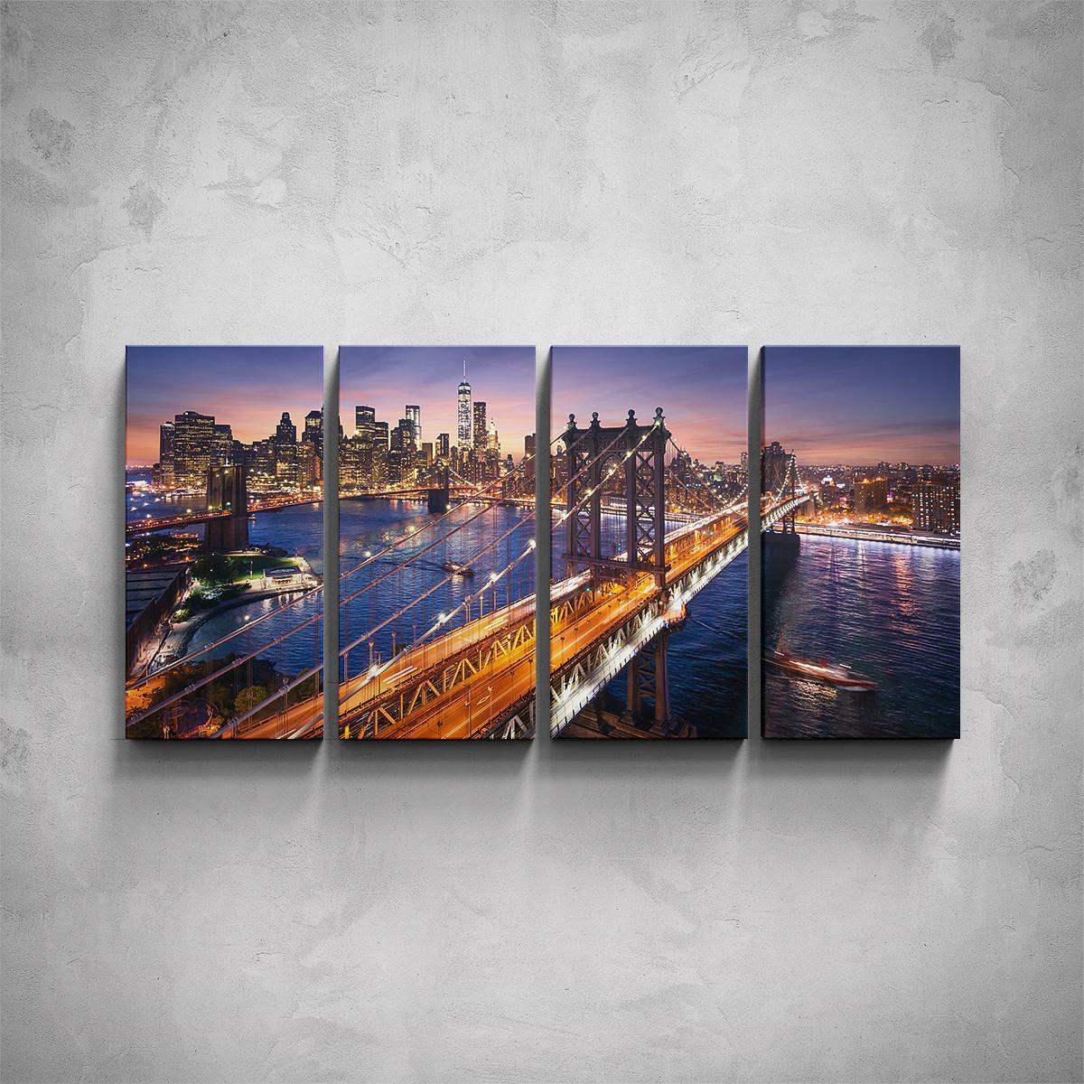 4-dílný obraz - Noční New York - PopyDesign