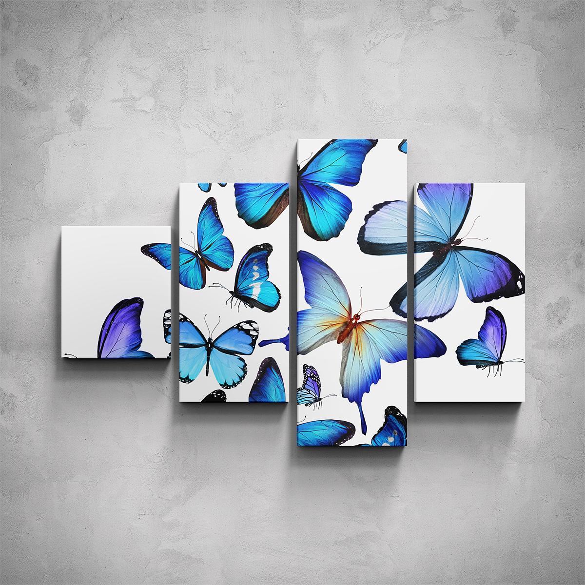 4-dílný obraz - Modří motýli - PopyDesign